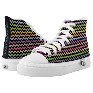 Colorful chevron pattern high top printed shoes