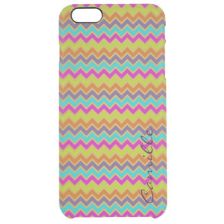 colorful chevron pattern personalized by name clear iPhone 6 plus case