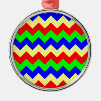 Colorful Chevron Pattern Silver-Colored Round Decoration