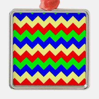 Colorful Chevron Pattern Silver-Colored Square Decoration