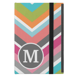 Colorful Chevron Pattern with Custom Monogram iPad Mini Covers