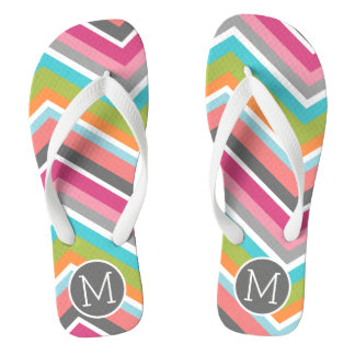 Colorful Chevron Pattern with Custom Monogram Thongs