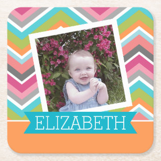 Colorful Chevron Pattern with Custom  Name Square Paper Coaster