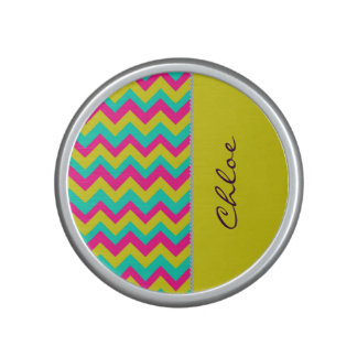 colorful chevron pattern with diamonds and name bluetooth speaker