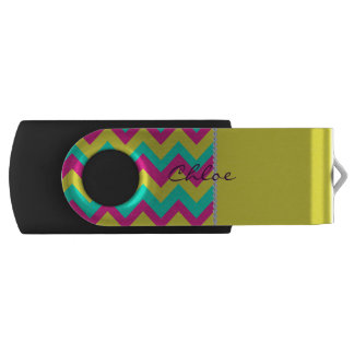 colorful chevron pattern with diamonds and name swivel USB 3.0 flash drive