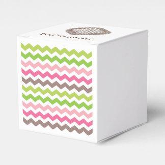 Colorful chevron stripe with chocolate truffle favour box