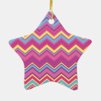 Colorful Chevron Zig Zag Pattern Ceramic Star Decoration