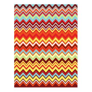 Colorful Chevron Zig Zag Pattern Postcard