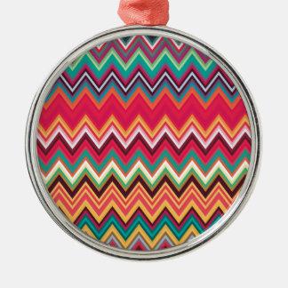 Colorful Chevron Zig Zag Pattern Silver-Colored Round Decoration