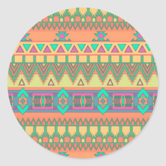 Colorful Chevron Zig Zag Tribal Aztec Ikat Pattern Round Sticker