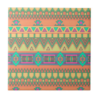 Colorful Chevron Zig Zag Tribal Aztec Ikat Pattern Small Square Tile