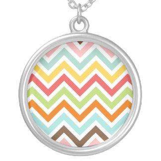 Colorful Chevron Zigzag Stripes Pattern Round Pendant Necklace