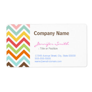 Colorful Chevron Zigzag Stripes Pattern Shipping Label