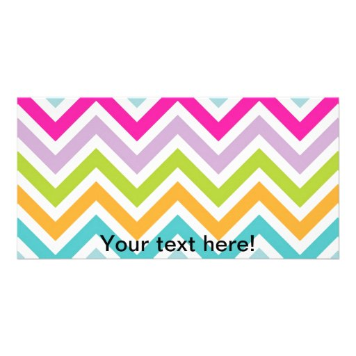 Colorful chevrons zig zag stripes pattern photo card template