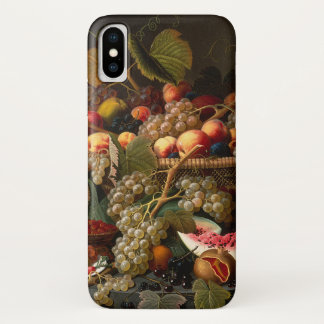 Colorful Chic Baroque Fruit Still Life Painting iPhone X Case