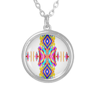 Colorful Chic Modern Tribal Pattern Silver Plated Necklace