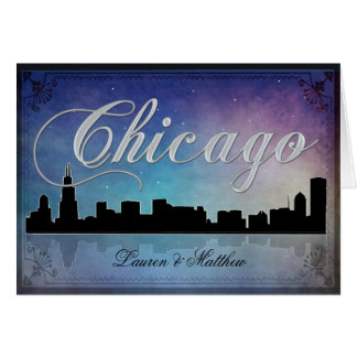 Colorful Chicago Illinois skyline Card