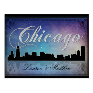 Colorful Chicago Illinois skyline Postcard