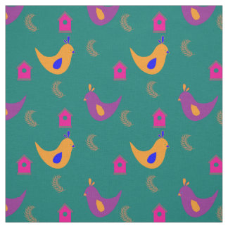 Colorful Chickens on Teal Fabric