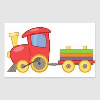 Colorful Child's Toy Train Sticker Rectangular Stickers