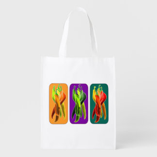 Colorful Chili Peppers Grocery Bag