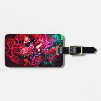 Colorful chinese dragon art luggage tag