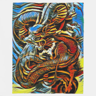 Colorful Chinese Dragon Fleece Blanket