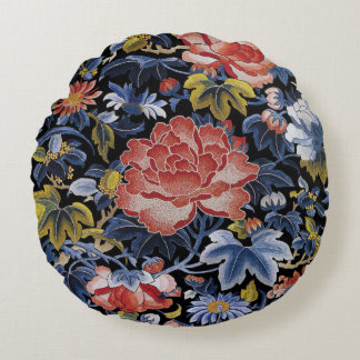 Colorful Chinese Embroidery Flowers Round Cushion