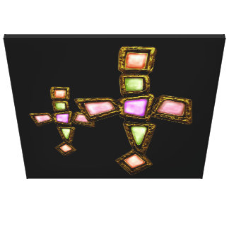 colorful christian crosses design with gold art gallery wrapped canvas
