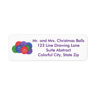 Colorful Christmas Balls Drawing Address Labels