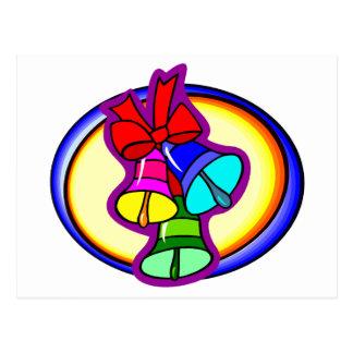 Colorful Christmas Bells Postcard