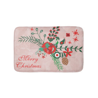 Colorful Christmas Bouquet Bath Mat