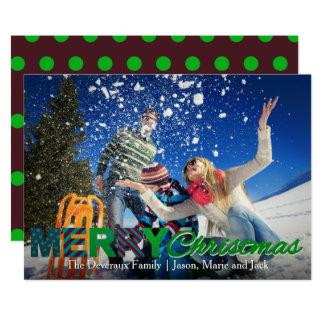Colorful Christmas Card   Polka Dot Background 13 Cm X 18 Cm Invitation Card