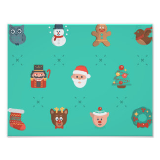 Colorful Christmas Characters Seamless Pattern Photo Print