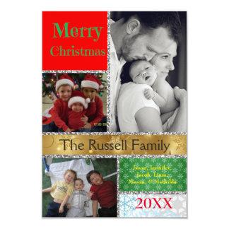 Colorful Christmas Collage - 3x5 Christmas Card