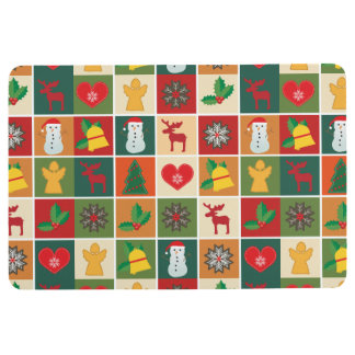 Colorful Christmas Collage Floor Mat
