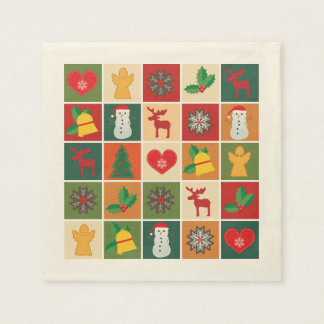 Colorful Christmas Collage Paper Napkin