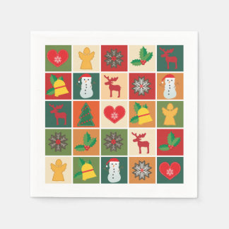 Colorful Christmas Collage White Disposable Serviette