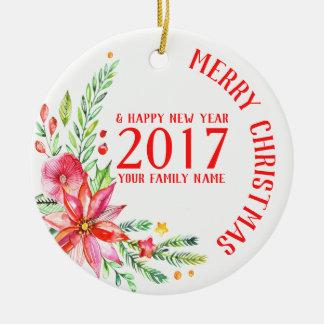 Colorful Christmas Flowers Bouquet & Text Template Ceramic Ornament