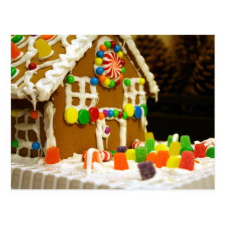 Colorful Christmas Gingerbread House Postcard
