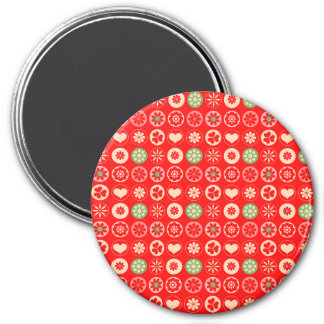 Colorful Christmas Hearts Magnet