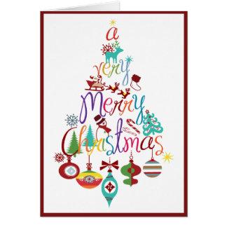 Colorful Christmas Holiday Tree Greeting Card