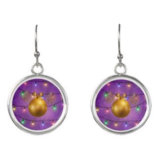 Colorful Christmas Lights Golden Ornaments Purple Earrings