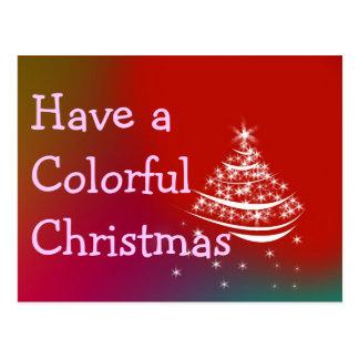 Colorful Christmas Line Postcard