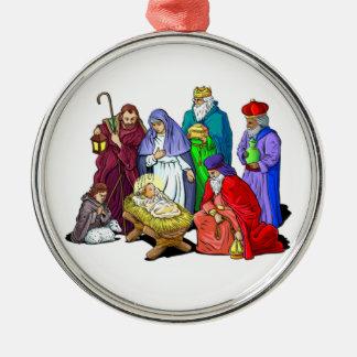 Colorful Christmas Nativity Scene Silver-Colored Round Decoration