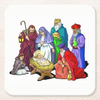Colorful Christmas Nativity Scene Square Paper Coaster