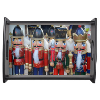 Colorful christmas nutcrackers serving tray