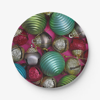 Colorful christmas ornaments paper plate