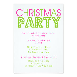Colorful Christmas Party 13 Cm X 18 Cm Invitation Card