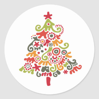 Colorful Christmas Tree Round Sticker